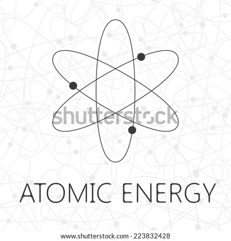 Atom illustration over seamless atoms background - stock vector
