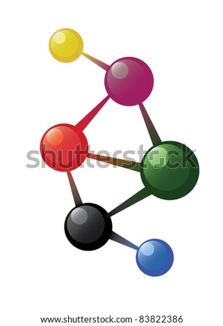 Atom model on the white background - stock vector
