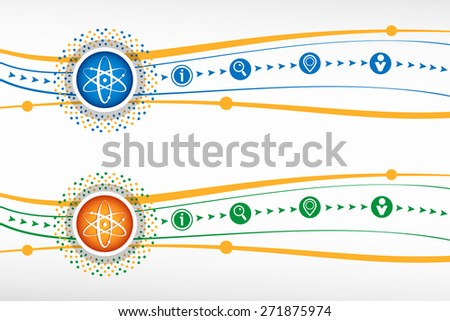 Atom molecule on background for banner, web, site, design, advertising, print, poster. Vector template - stock vector