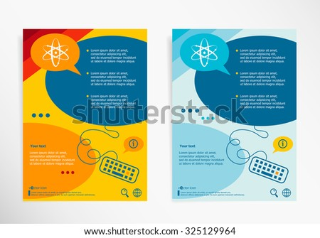 Atom molecule on chat speech bubbles. Modern flyer, brochure vector template. - stock vector