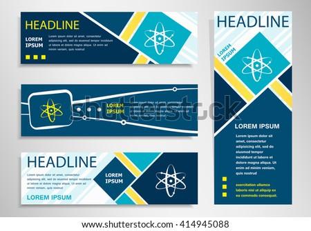 Atom molecule on horizontal and vertical banner. Atom molecule abstract banner, flyer design template. - stock vector
