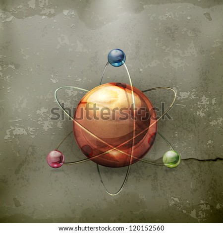 Atom, old-style vector - stock vector