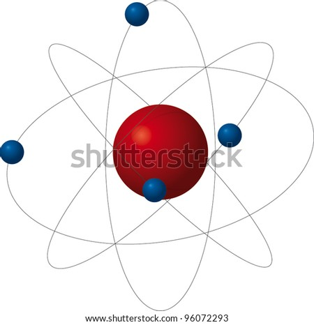 Atom, red proton with four blue electrons - stock vector