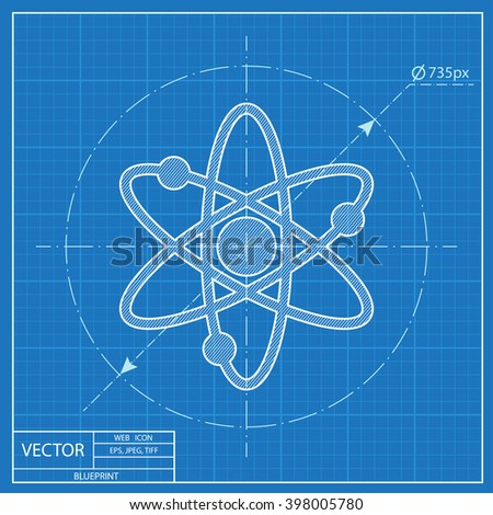 Atom sign blueprint icon  - stock vector
