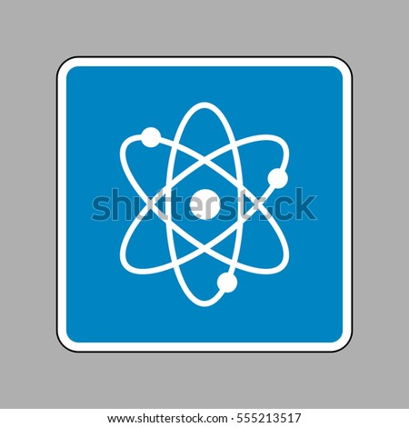 Atom sign illustration. White icon on blue sign as background.