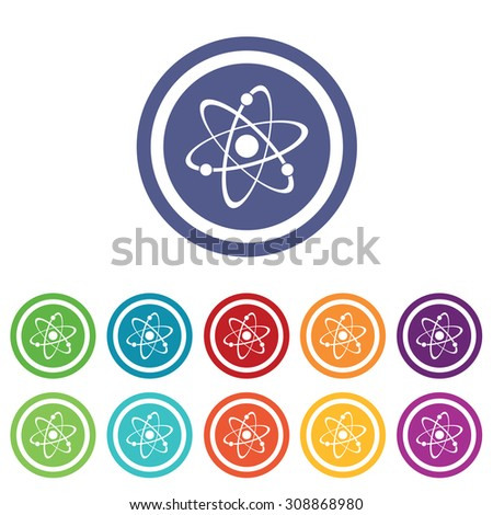Atom signs set, on colored circles, isolated on white - stock vector