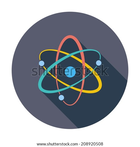 Atom. Single flat color icon. Vector illustration. - stock vector