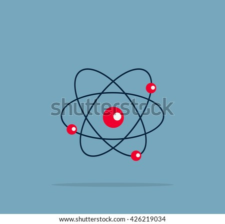 Atom structure symbol of electron. Vector illustration - stock vector