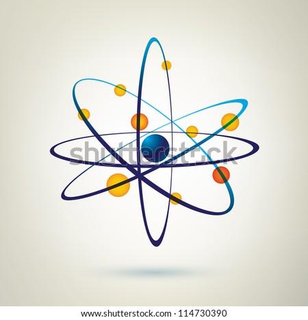 atom structure vector icon, 3d symbol - stock vector