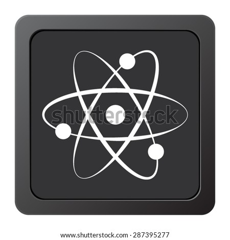 atom - vector icon on a grey button