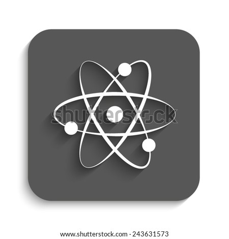 atom - vector icon with shadow on a grey button