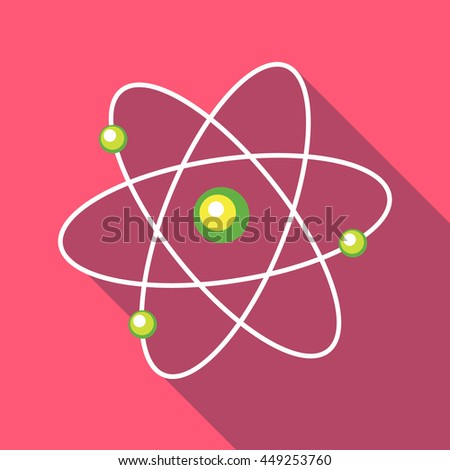 Atom with electrons icon in flat style on a pink background - stock vector