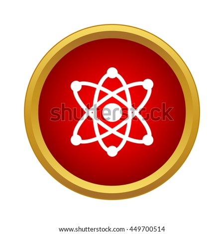 Atom with electrons icon in simple style on a white background - stock vector