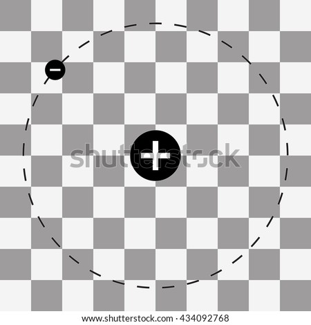 Atom with nucleus and electrons. - stock vector
