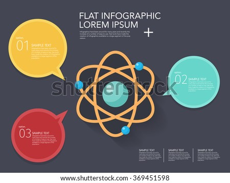 Atomic and science icon , Vector flat long shadow design.  Education infographic,eps10 - stock vector