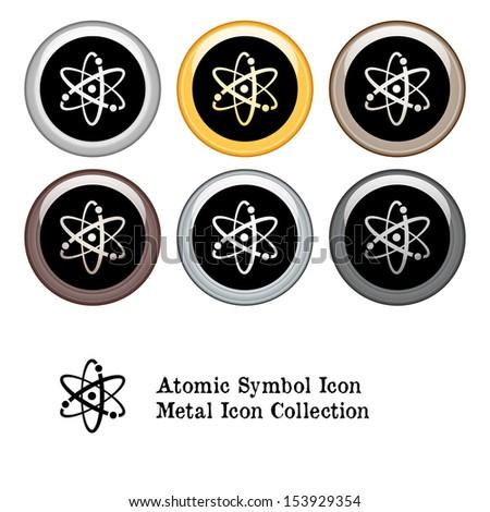 Atomic Symbol Icon. Metal Icon Set - stock vector