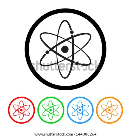 Atomic Symbol Icon Vector with Four Color Variations - stock vector