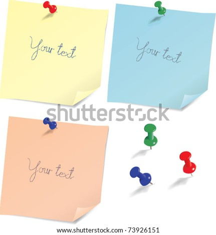 attached messages with thumbtack - stock vector