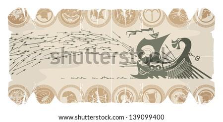 Attack battle Greek galleys, vector - stock vector
