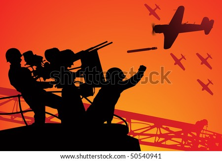 Attack on Pearl Harbor. Vector silhouette of two sailors with an anti-aircraft gun and torpedo bombers on the background. - stock vector