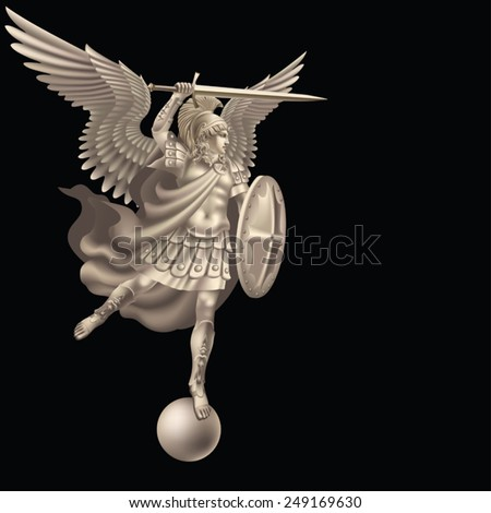 Attacking angel with a sword on a black background - stock vector