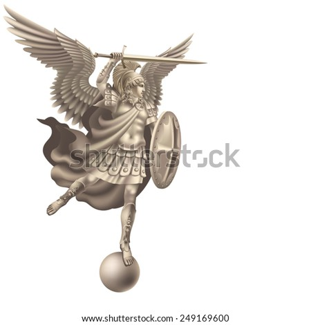 Attacking angel with a sword on a white background - stock vector