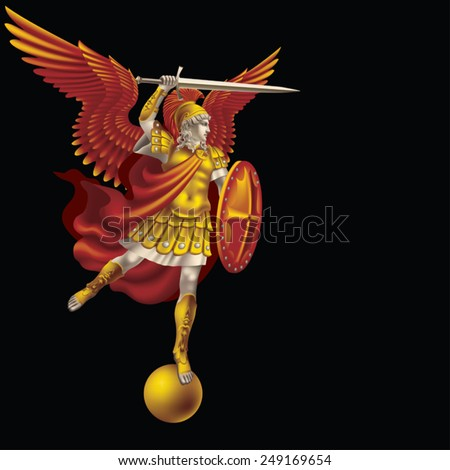 Attacking colorful angel with a sword on a black background - stock vector