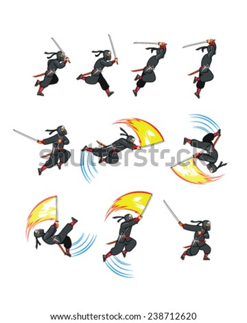 Attacking Ninja Game Sprite - stock vector