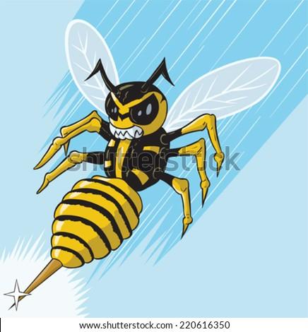 Attacking wasp - stock vector