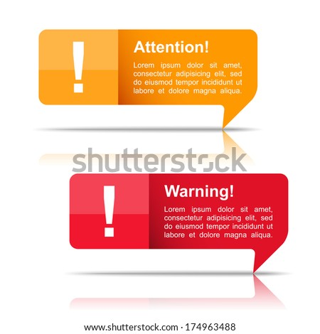 Attention and warning banners, vector eps10 illustration - stock vector