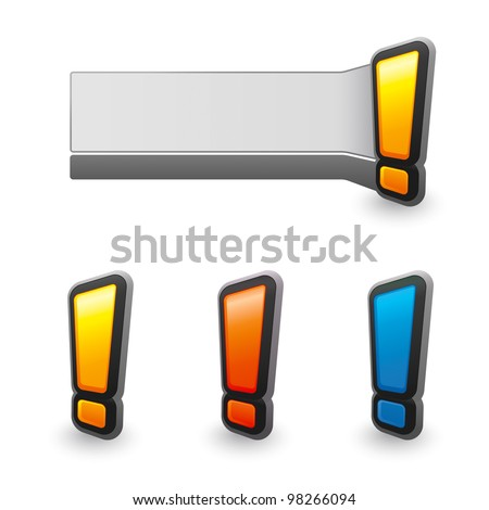 attention exclamation mark perspective stick - stock vector