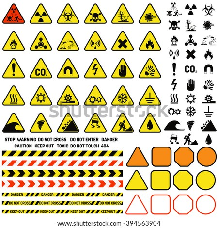 Attention icons danger button and attention warning point icons. Attention security alarm triangle. Hazard warning attention sign with exclamation mark symbol information and notification icons vector - stock vector