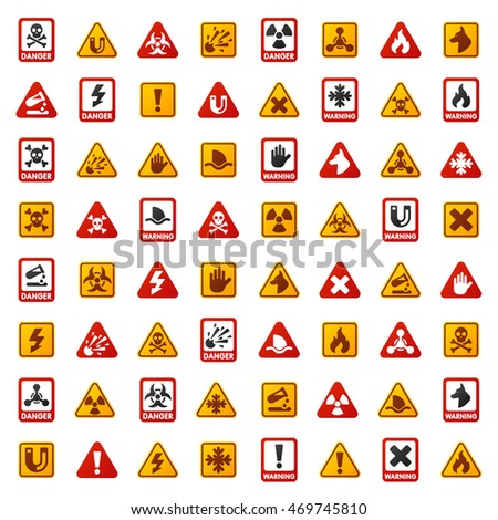 Attention icons danger button and attention warning signs. Attention security alarm symbols. Danger warning attention sign with symbols information and notification icons vector
