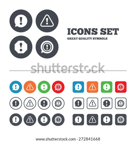 Attention icons. Exclamation speech bubble symbols. Caution signs. Web buttons set. Circles and squares templates. Vector - stock vector