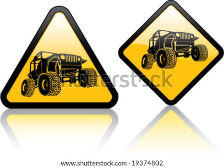Attention Jeep / Off-road Vehicle - stock vector