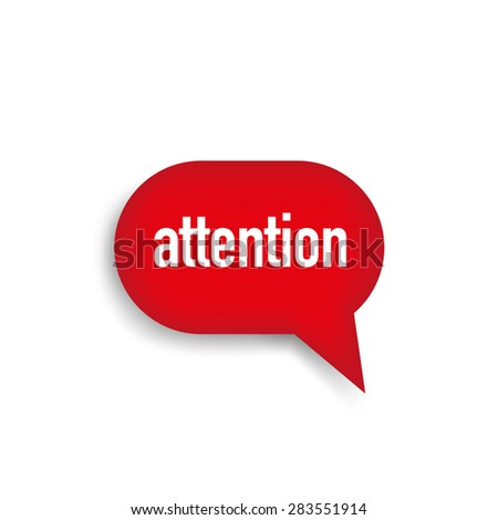 Attention red speech bubble