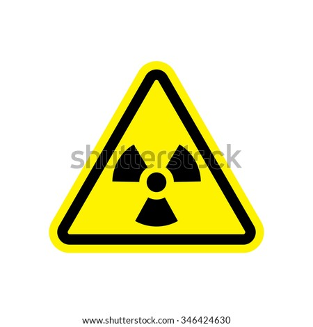 Attention sign, Hazard warning sign with nuclear symbol, Radiation symbol - stock vector