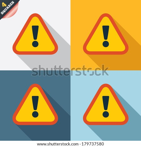 Attention sign icon. Exclamation mark. Hazard warning symbol. Four squares. Colored Flat design buttons. Vector - stock vector