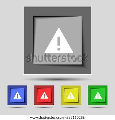 Attention sign icon. Exclamation mark. Hazard warning symbol. Set colourful buttons Vector illustration - stock vector