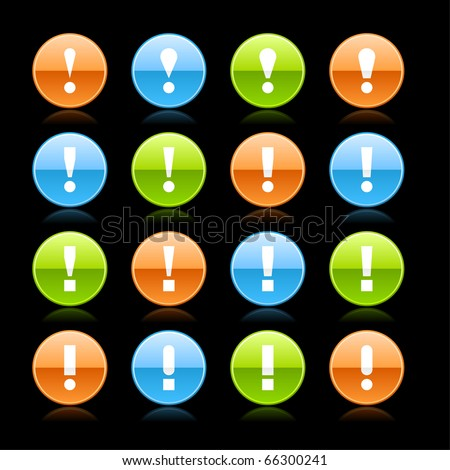 Attention warning icon web 2.0 button with exclamation mark. Glossy round shape with reflection on black - stock vector