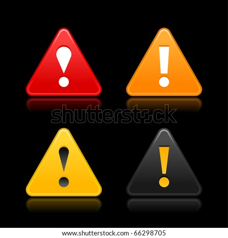 Attention warning icon web 2.0 button with exclamation mark. Satin triangle shape with reflection on black - stock vector