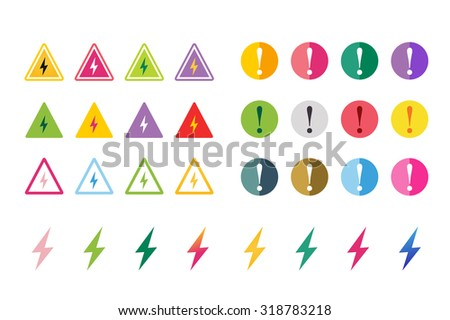 Attention warning sign icons set. Warning vector icons. Warning logo. Exclamation mark. Hazard warning symbol. Triangle warning symbols isolated on white background. Warning, attention, stop, electric - stock vector