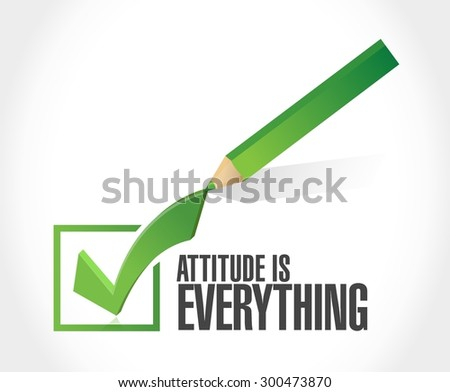 attitude is everything check mark sign concept illustration design icon - stock vector
