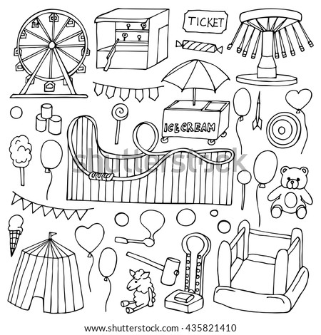 Attraction hand drawn doodle elements and objects - stock vector
