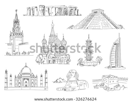 Attractions of the world. Freehand drawing. Vector illustration. Isolated on white background - stock vector