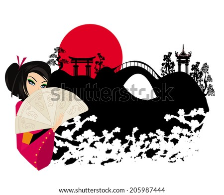 attractive asian woman holding traditional fan  - stock vector