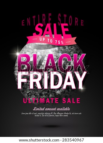 attractive black Friday big sale poster with glitter diamond ball