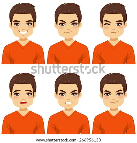 Attractive brown haired young man on six different face expressions collection - stock vector