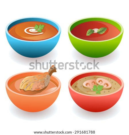 Attractive carrot, tomato, chicken, and mushroom soup bowls vector - stock vector