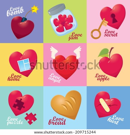 attractive colorful love set - different vector hearts for design - stock vector